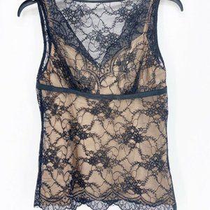 Ann Taylor Loft Womens Lace Tank Blouse Black M8